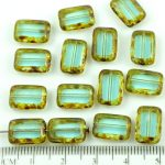 Rectangle Table Cut Flat Czech Beads - Picasso Brown Crystal Aqua Green - 12mm