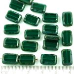 Rectangle Table Cut Flat Czech Beads - Picasso Brown Crystal Dark Emerald Green - 12mm