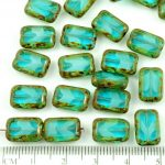 Rectangle Table Cut Flat Czech Beads - Picasso Brown Crystal Turquoise Aqua Blue Moonstone Moonlight Opal - 12mm