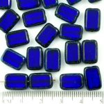 Rectangle Table Cut Flat Czech Beads - Picasso Brown Crystal Dark Sapphire Blue - 12mm