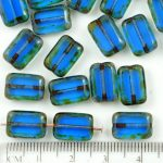 Rectangle Table Cut Flat Czech Beads - Picasso Brown Crystal Dark Blue Sapphire - 12mm