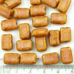 Rectangle Table Cut Flat Czech Beads - Picasso Pink Silk Brown - 12mm