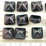 Pyramid Stud Two Hole Czech Beads - Picasso Opaque Jet Black Luster - 12mm