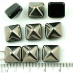Pyramid Stud Two Hole Czech Beads - Jet Black Metallic Dark Silver Half - 12mm