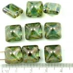 Pyramid Stud Two Hole Czech Beads - Crystal Picasso Blue - 12mm