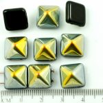 Pyramid Stud Two Hole Czech Beads - Jet Black Metallic Silver Marea Gold Half - 12mm