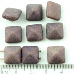 Pyramid Stud Two Hole Czech Beads - Matte Chalk Vega Purple - 12mm