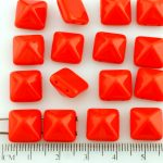 Pyramid Stud Two Hole Czech Beads - Opaque Coral Red - 12mm