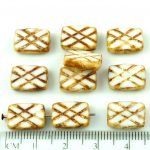 Rectangle Table Cut Window Czech Beads - Picasso Brown Opaque White - 12mm