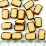 Rectangle Table Cut Flat Czech Beads - Picasso Opaque Ivory Brown - 12mm