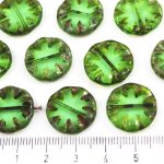 Flower Coin Window Table Cut Flat Czech Beads - Picasso Crystal Green Peridot - 18mm