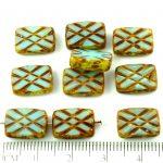 Rectangle Table Cut Window Czech Beads - Picasso Brown Aqua Blue Opal - 12mm