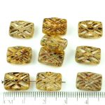 Rectangle Table Cut Window Czech Beads - Crystal Yellow Brown Picasso - 12mm
