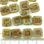 Flower Square Window Table Cut Flat Czech Beads - Picasso Crystal Opal Blue Travertine Brown - 10mm