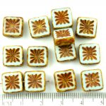 Flower Square Window Table Cut Flat Czech Beads - Picasso Brown Opaque Light Turquoise Blue - 10mm
