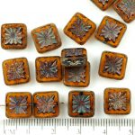 Flower Square Window Table Cut Flat Czech Beads - Picasso Matte Crystal Yellow Topaz - 10mm