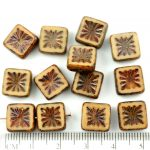 Flower Square Window Table Cut Flat Czech Beads - Picasso Brown Beige - 10mm