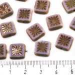 Flower Square Window Table Cut Flat Czech Beads - Picasso Matte Light Purple - 10mm