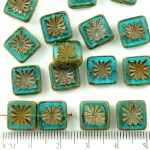 Flower Square Window Table Cut Flat Czech Beads - Picasso Crystal Aqua Blue Matte - 10mm