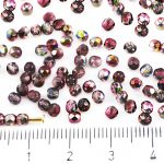 Round Faceted Fire Polished Czech Beads - Crystal Magic Metallic Red Brown Half - 3mm