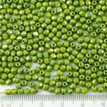 Round Faceted Fire Polished Czech Beads - Picasso Opaque Olivine Olive Green Blue Terracotta - 3mm