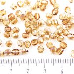 Round Faceted Fire Polished Czech Beads - Crystal Yellow Viridian Celsian Rainbow Half Clear - 4mm