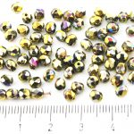 Round Faceted Fire Polished Czech Beads - Metallic California Meadows Gold Rainbow - 4mm