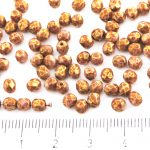 Round Faceted Fire Polished Czech Beads - White Alabaster Opal Red Brown Marble Gold Luster - 4mm