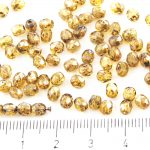 Round Faceted Fire Polished Czech Beads - Picasso Silver Crystal Yellow - 4mm