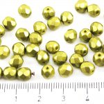 Round Faceted Fire Polished Czech Beads - Pearl Pastel Lime Green Khaki - 6mm