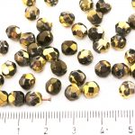 Round Faceted Fire Polished Czech Beads - Crystal Metallic California Gold Nights - 6mm