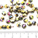 Round Faceted Fire Polished Czech Beads - Metallic California Meadows Gold Rainbow - 6mm