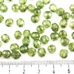 Round Faceted Fire Polished Czech Beads - Crystal Green Luster Clear - 6mm