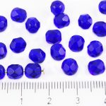 Round Faceted Fire Polished Czech Beads - Crystal Dark Blue Sapphire Clear - 6mm