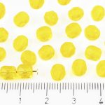 Round Faceted Fire Polished Czech Beads - Crystal Light Amber Yellow Clear - 6mm