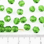 Round Faceted Fire Polished Czech Beads - Crystal Light Chrysolite Green Clear - 6mm