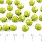 Round Faceted Fire Polished Czech Beads - Opaque Olivine Olive Green - 8mm