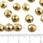 Round Faceted Fire Polished Czech Beads - Metallic Gold Bronze - 8mm