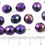 Round Faceted Fire Polished Czech Beads - Metallic Purple Green Iris - 10mm