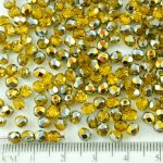 Round Faceted Fire Polished Czech Beads - Crystal Light Topaz Yellow Clear Metallic Marea Gold Half - 4mm