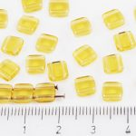 Two Hole Czech Beads - Crystal Yellow Topaz - 6mm