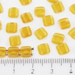 Two Hole Czech Beads - Matte Crystal Yellow Dark Topaz Frosted - 6mm