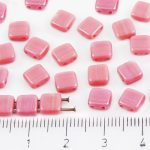 Two Hole Czech Beads - Opaque Pink Rose Rosaline - 6mm