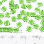 Two Hole Czech Beads - Crystal Dark Green Tourmaline - 6mm