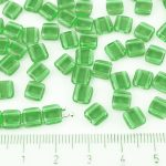 Two Hole Czech Beads - Matte Crystal Dark Green Tourmaline Frosted Sea Glass - 6mm