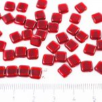 Two Hole Czech Beads - Crystal Ruby Red - 6mm