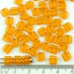 Two Hole Czech Beads - Matte Crystal Yellow Topaz Frosted Sea Glass - 6mm