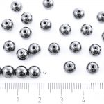 Round Czech Beads - Metallic Opaque Jet Black Silver Hematite Luster - 6mm