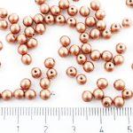 Round Czech Beads - Metallic Matte Bronze Vintage Copper - 4mm