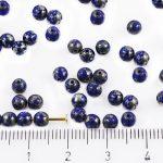 Round Czech Beads - Picasso Silver Opaque Dark Blue Sapphire - 4mm